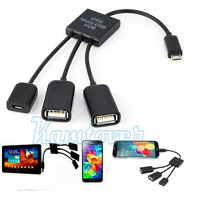 New 3-in-1 OTG cable Micro USB Hub Adapter Converter Extender for Mobile Phones