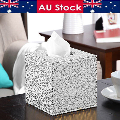 Silver Square Leather Tissue Box Toilet Holder Cover Paper Case Home Office AU