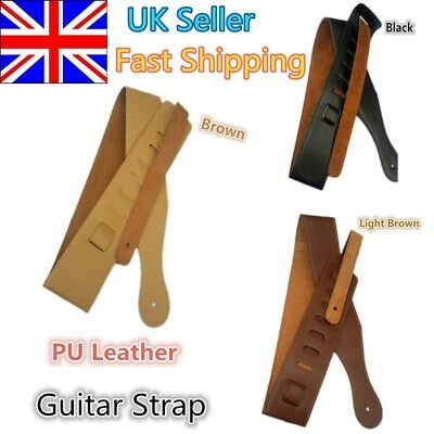 Leather Thick Strap Belt For Electric Guitar Acoustic Guitar Bass Adjustble -UK#