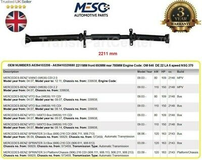 Oe Heavy Duty Complete Propshaft + Bearings Mercedes Viano Vito Sprinter 2003 On