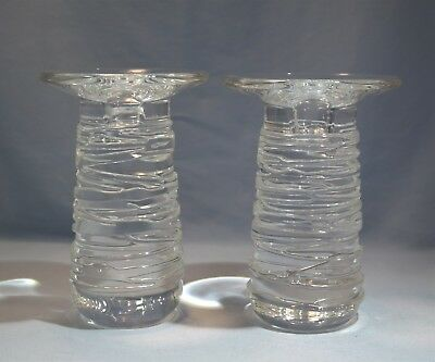 Rare Steuben Pair of Tall Crystal Glass 'Celebration' Candlestick Circa 1997