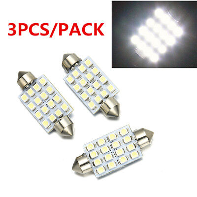 3pc/Pack white 42mm 16SMD Car LED Festoon Dome Interior Cargo Light Bulbs bright