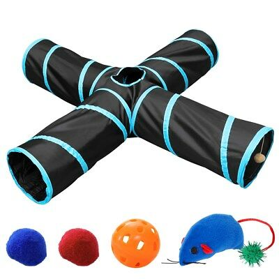 Red Pet Cat Tunnel Toy 4 WAY X Shape Foldable Kitten Play Exercise Tunnel Cave