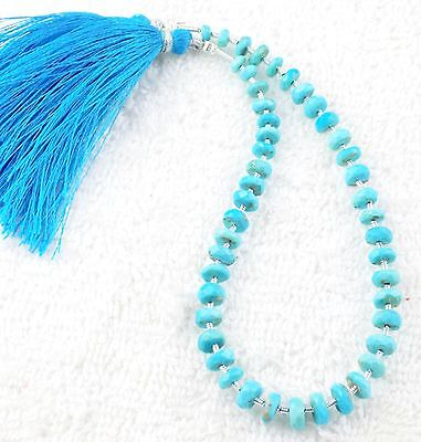 "1 Strand Natural Arizona Turquoise Faceted 4-6mm Rondelle Drilled Beads 9"" Long"