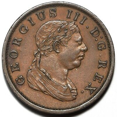 1813 King George Iii Essequibo And Demerary Copper 1 One Stiver Token Coin