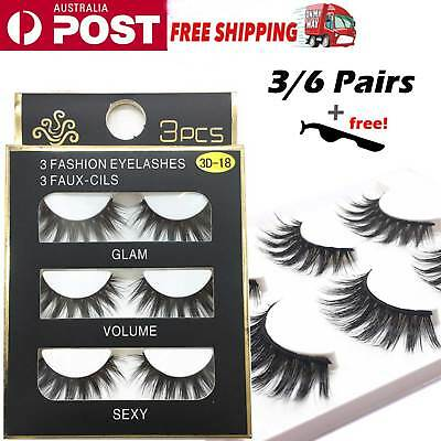 6 Pairs 3D Natural Cross Thick Long False Fake Eyelashes Extension Eye Lashes AU
