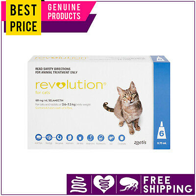 Revolution BLUE for Cats 2.6 to 7.5 Kg 6 Doses Flea Heartworm Worm Control