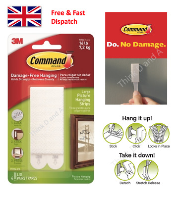 3M Command Picture Hanging Strips Adhesive Stick on Frame Damage Free - Large