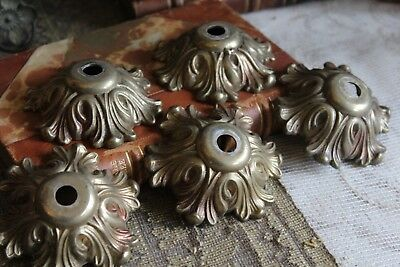 Five Ornate Vintage French Bronze Bobeches Chandelier Spares Parts (ref 3)