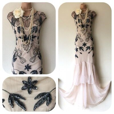 Sequin beaded Embellished Flapper 20's Gatsby Dress Cruise Long 8 -16