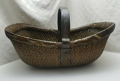 "Early 20th Century CHINESE WOVEN WILLOW RICE 23"" BASKET Metal Re-enforced Handle"