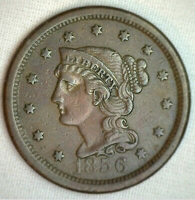 1856 Braided Hair Large Cent Copper Extra Fine Genuine 1c Penny US Coin M11 XF