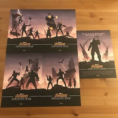 AVENGERS INFINITY WAR - Complete Set Five Odeon A4 Marvel Movie Posters