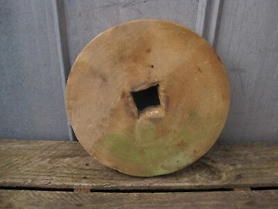 "Antique 13"" Grinding Stone Round Wheel Sandstone Sharpener B8735"