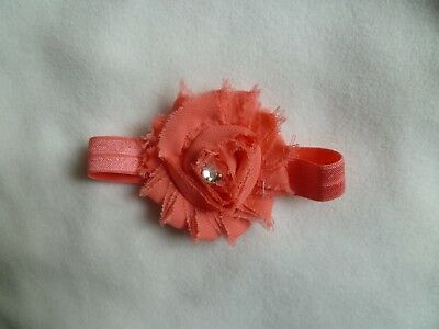 Baby clothes GIRL premature/tiny<4lbs/1.8kg coral pink headband special occasion