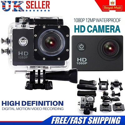 Sports Action Camera 12MP 1080P FHD 140° Waterproof CAM With Motion Detection TF