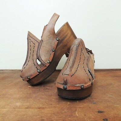 1970s Wood Platform Clogs Bohemian Hippie Platforms Made Italy Size 8