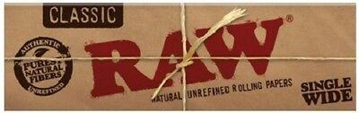 Raw Classic Single Wide Smoking Cigarette Tobacco Natural Rolling Papers Pack