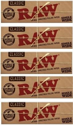 Raw Classic Single Wide Smoking Cigarette Tobacco Natural Rolling Papers 5 Packs