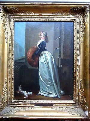 FRENCH LOUIS LEOPOLD BOILLY 19th CENTURY OIL PORTRAIT ARISTOCRATIC LADY w/ DOG