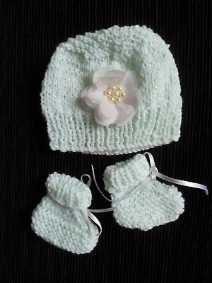 Baby clothes GIRL premature/tiny<5lbs/2.3kg professionally knit hat/bootees mint