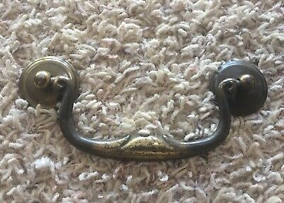 "Chippendale Vintage Antique Hardware Drawer Pull Brass Swan Neck 4"" centers"