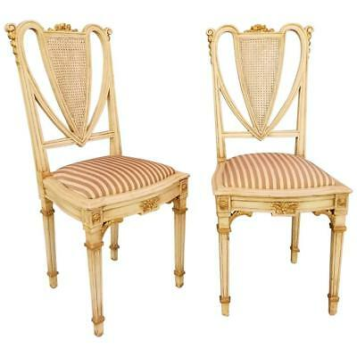 Pair French Painted Side Chairs circa. 1920's