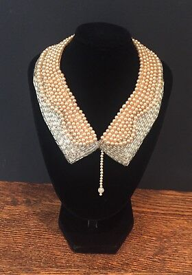 French 1920's 1930's Art Deco Beaded Dress Collar Vintage Antique Necklace