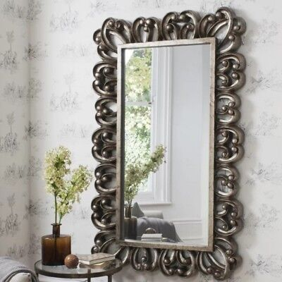 Large Vintage Wall Mirror Antique Silver Victorian Resin Frame 157x98cm Hanging
