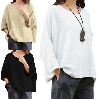 Womens Casual 3/4 Sleeve Cotton Linen Loose Tunic Shirt Top Blouse plus Size