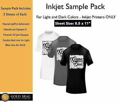 *Sample Pack* Inkjet Iron On Heat Transfer Paper for Light and Dark 8.5 x 11