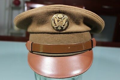 US WW2 Army Enlisted Visor Hat Cap 6 7/8 Crusher Style Brown Doeskin Tailor Made