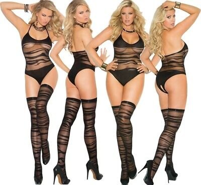 Elegant Moments Black Wave Pattern Teddy Body Lingerie With Stockings
