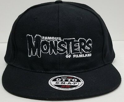 9e9976ba072 FAMOUS MONSTERS BLACK Logo Black Baseball Cap Adjustable Snapback ...