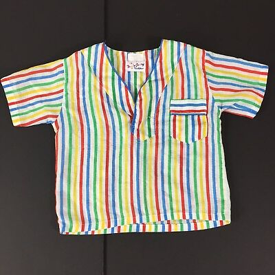 Toddler Boys Vintage Short Sleeve Pajama Top Shirt Red Blue Green Striped 3T