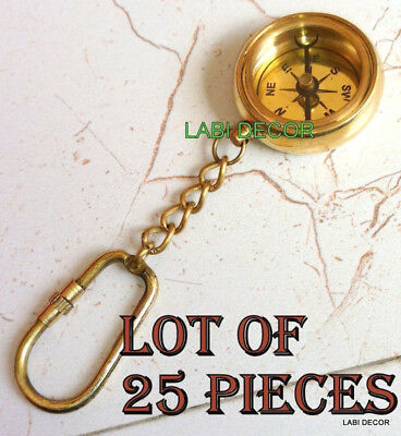 Vintage Brass Compass Open Face Antique Compass Gift 25 PC Key Chain Ring Gifts