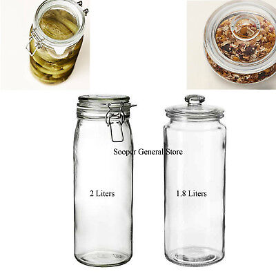 Ikea Glass Mason Jar Clip Top Airtight Lid Big Long Cereal Cookie Oil Container
