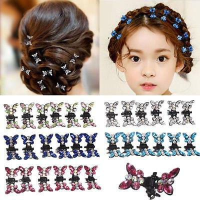 12PCS Rhinestone Butterfly Small Hair Claw Hairpins Hair Accessories
