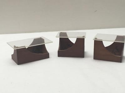 3 Miniature Dollhouse Mid Century Modern Living Room Coffee & End Tables Artisan