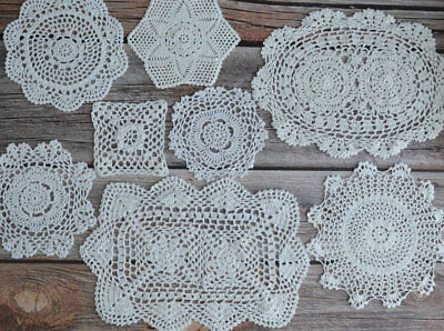 8 Crochet White Lace Doilies Lot in bulk Rustic Wedding Coasters Table Runners