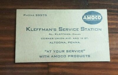 Vintage Early 1900`s Kleffman`s Service Station Altoona, Penna. AMOCO Ad on back