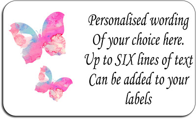 Pink Butterfly Abstract Personalised Labels with FREE protective wallet