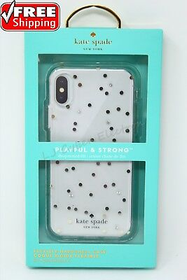 Kate Spade New York Flexible Hardshell Case for iPhone X 10 Clear Glitter Dots