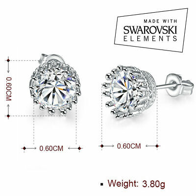 18K White Gold Plated Round Earrings for Baby Girls with Swarovski Crystal ITALY