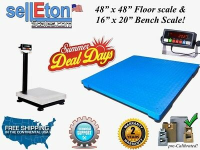 "NEW 48"" x 48"" Pallet Digital Floor scale & 16"" x 20"" Bench Scale PKG DEAL!"