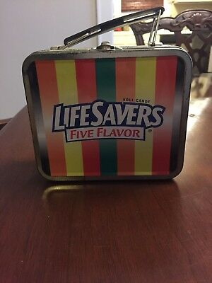 LifeSavers Five Flavor candy tin, lunchbox style, 5.5x5.5x2 inches
