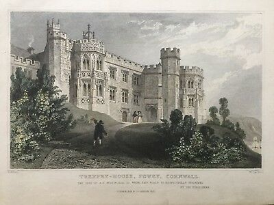 1831 Antique Print; Treffry or Place House, Fowey, Cornwall after Thomas Allom