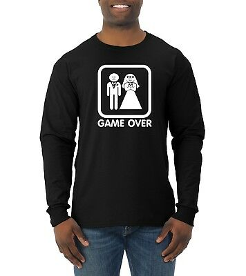 836c5c3202124e Game Over Funny Wedding Gift T-Shirt Mens Long Sleeve Graphic Humor Novelty  Tee