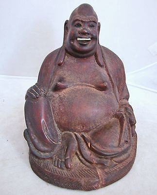 "6.1"" Antique Chinese Carved Wood Statue of Hotei Buddha"
