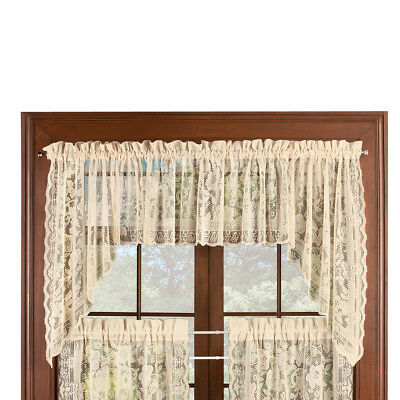 Floral Lace Cafe Curtain Window Swags Set of 2, Windsor - with Rod Pocket Top